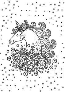 Распечатать раскраску В окружении цветов - Единороги