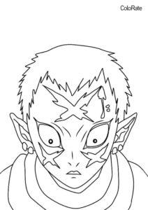Раскраски из аниме «Клинок, рассекающий демонов» бесплатная разукрашка - Вакураба