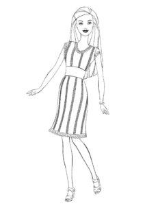 Раскраска Вечернее платье распечатать и скачать - Барби