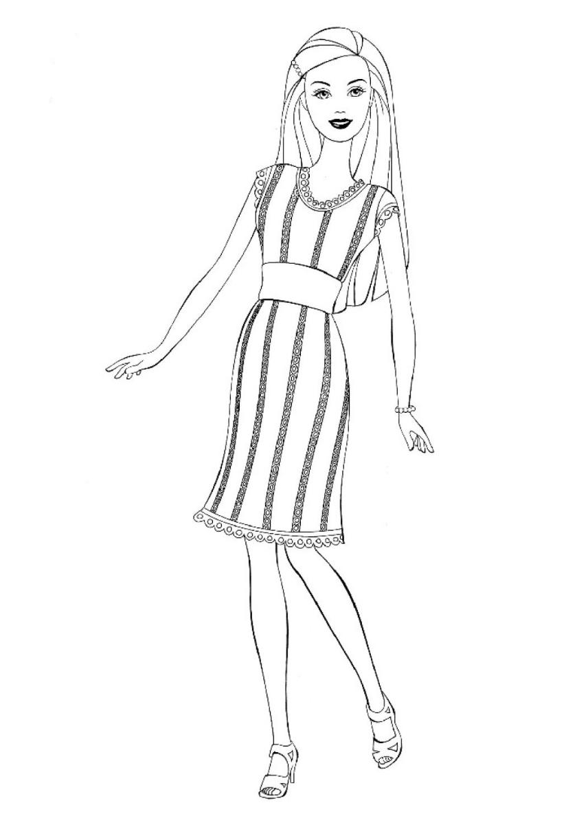 Раскраска Вечернее платье распечатать | Барби