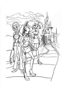 Винкс распечатать раскраску - Ведьмы Трикс