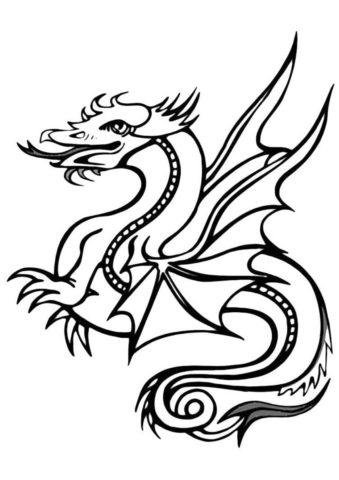 Разукрашка Великий дракон распечатать на А4 - Драконы