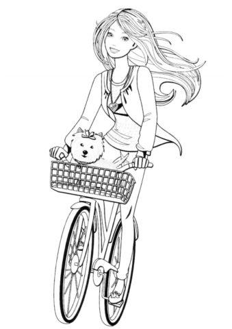 Велопрогулка с питомцем (Барби) распечатать разукрашку