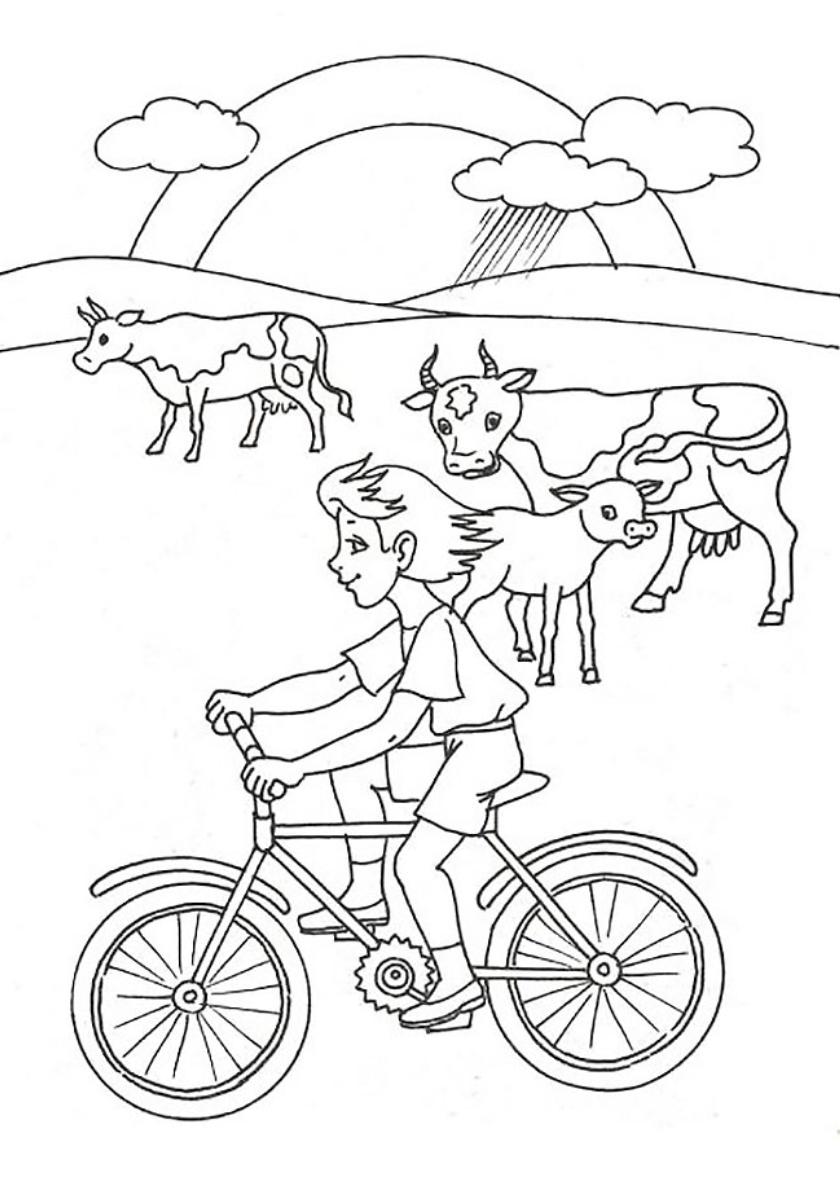 Раскраска Велопрогулка распечатать | Лето