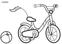 Велосипед и мячик раскраска распечатать бесплатно на А4 - Велосипеды
