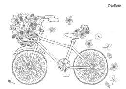 Бесплатная разукрашка для печати и скачивания Велосипед с цветами - Велосипеды