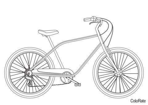 Велосипеды бесплатная разукрашка - Велосипед с длинной рамой