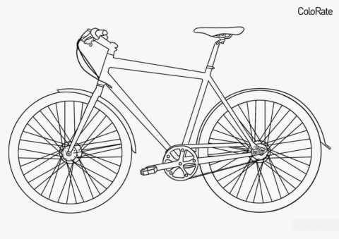 Разукрашка Велосипед со спицами распечатать на А4 - Велосипеды