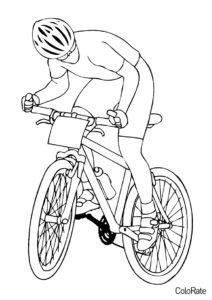 Распечатать раскраску Велосипедист - Велосипеды