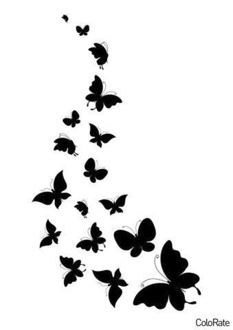 Вереница насекомых шаблон распечатать бесплатно на А4 - Трафареты бабочек
