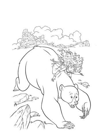 Мерида распечатать раскраску - Верхом на медведе