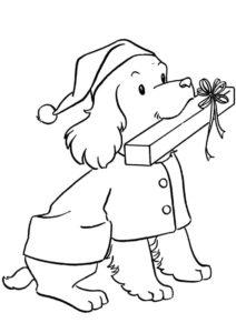 Верный питомец с подарком бесплатная раскраска - Собаки и щенки