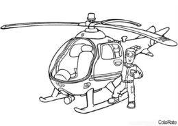 Раскраска Вертолет с пилотом распечатать на А4 и скачать - Вертолеты