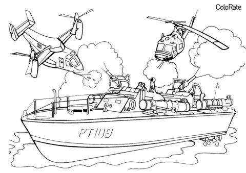 Бесплатная раскраска Вертолеты обстреливают корабль распечатать и скачать - Военные