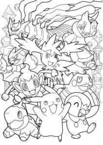 Покемоны бесплатная раскраска распечатать на А4 - Веселая компания покемонов