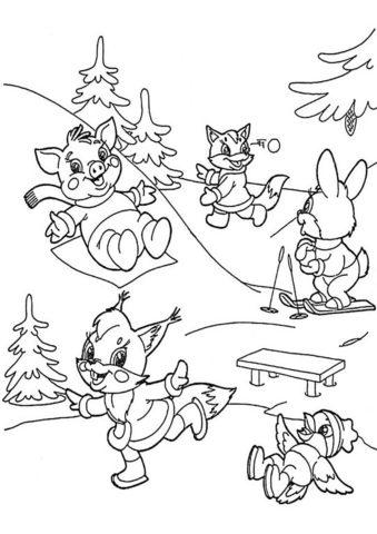 Разукрашка Веселое катание на снежной горке распечатать на А4 и скачать - Зима