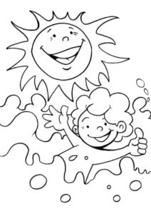 Веселое солнце и купающийся мальчик (Лето) раскраска для печати и загрузки