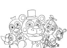 Раскраска Веселые аниматроники распечатать на А4 и скачать - ФНАФ и Аниматроники