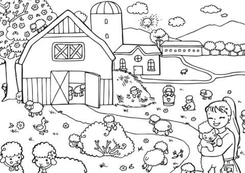 Бесплатная раскраска Веселые барашки распечатать на А4 - Весна