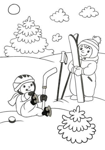 Распечатать раскраску Веселые зимние забавы - Зима