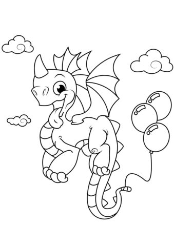 Бесплатная раскраска Веселый дракончик с шариками распечатать и скачать - Драконы