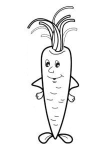 Веселый корнеплод раскраска распечатать на А4 - Морковь