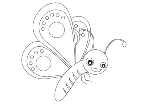 Веселый мотылек раскраска распечатать на А4 - Бабочки