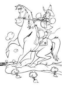 Лошади и пони распечатать раскраску на А4 - Веселый наездник