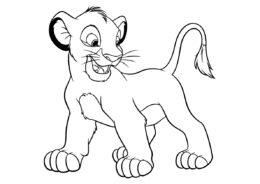 Раскраска Веселый Симба распечатать на А4 - Король Лев