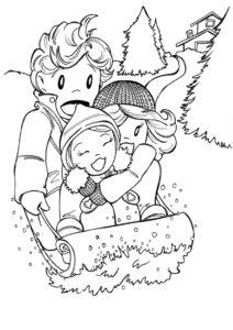 Раскраска Веселый спуск на санях распечатать на А4 - Зима