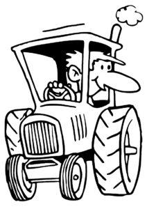 Веселый тракторист (Трактора) бесплатная раскраска на печать