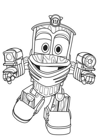 Роботы-поезда распечатать раскраску - Веселый трансформер Утенок