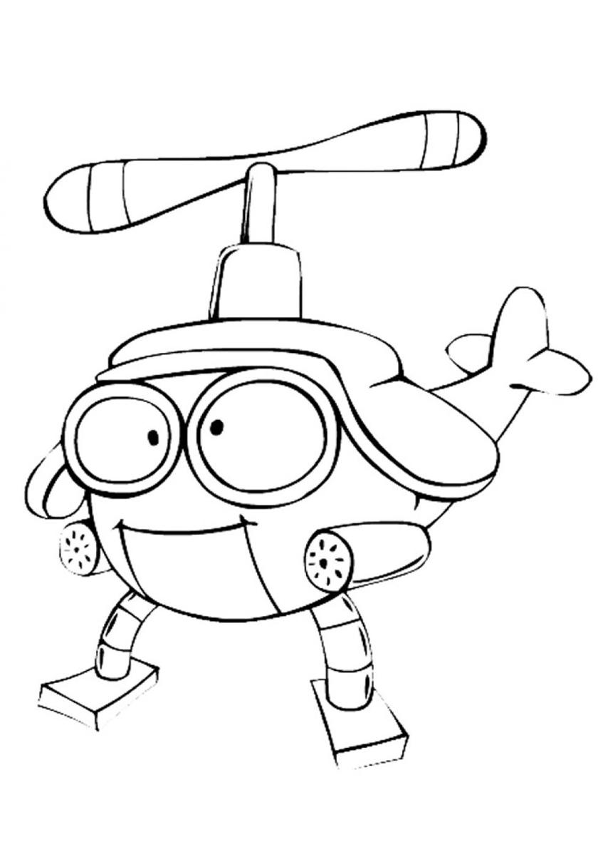 Раскраска Веселый вертолетик распечатать | Роботы
