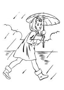 Разукрашка Весенний дождь распечатать и скачать - Весна