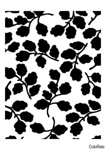 Веточки трафарет скачать и распечатать - Трафареты листьев