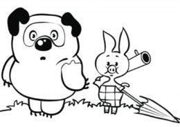 Винни и Пятачок идут за медом распечатать и скачать раскраску - Винни Пух