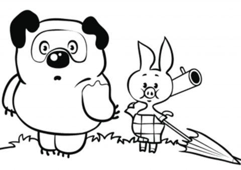 Раскраска Винни и Пятачок идут за медом распечатать ...