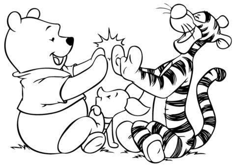 Винни и Тигруля играют в ладушки (Винни Пух) распечатать раскраску