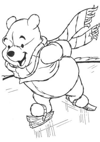 Раскраска Винни Пух на коньках распечатать на А4 и скачать - Зима