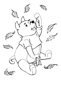 Винни-пух с котенком раскраска распечатать на А4 - Осень