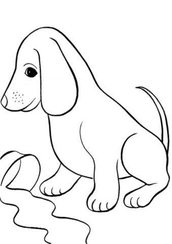 Виноватый щенок и разлитое молоко (Собаки и щенки) распечатать раскраску