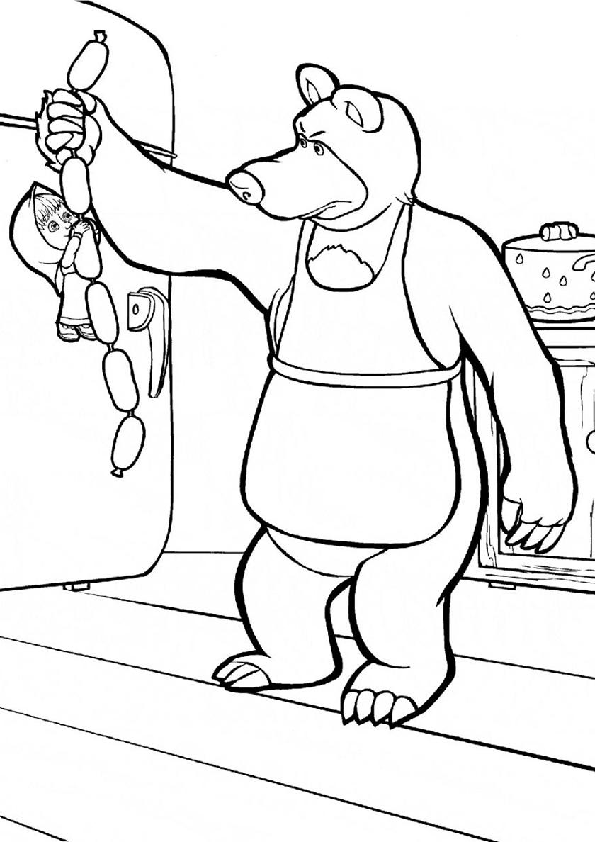 Картинка для распечатки маша и медведь