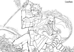 Вместе против всех раскраска распечатать бесплатно на А4 - Раскраски из аниме «Клинок, рассекающий демонов»