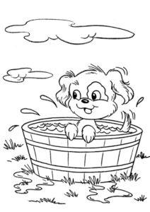 Собаки и щенки распечатать раскраску - Водные процедуры