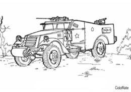 Разукрашка Военный автомобиль распечатать и скачать - Военные