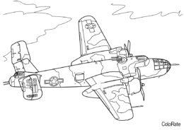 Военные распечатать раскраску - Военный самолёт