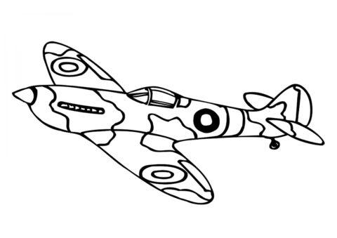 Раскраска Военный самолет распечатать на А4 и скачать - Самолеты