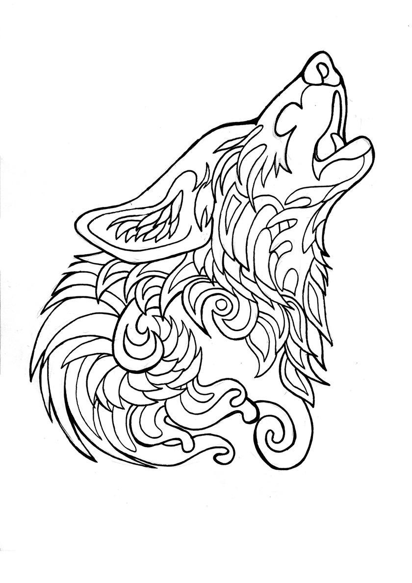 Раскраска Волчий вой распечатать | Волки
