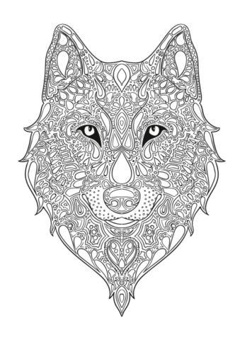 Волчья голова антистресс распечатать разукрашку бесплатно - Волки