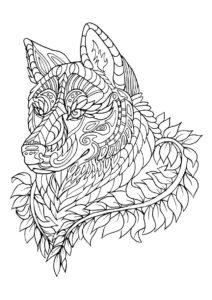 Волчья голова в узорах (Волки) распечатать раскраску